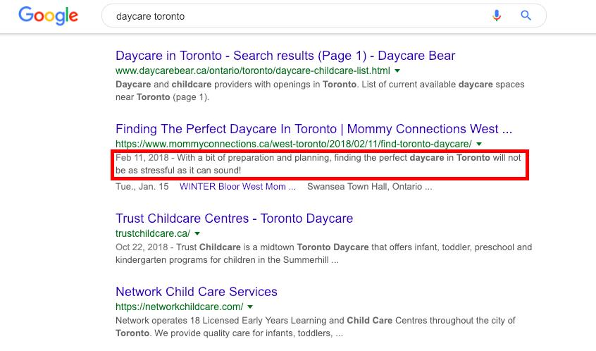 Daycare website meta description.