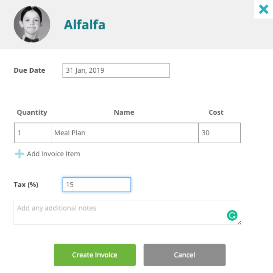 adding tax to a child care invoice in HiMama