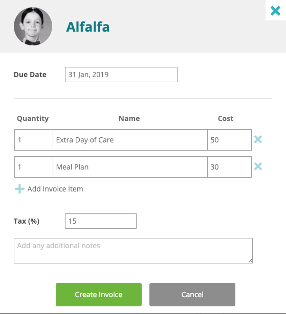 Creating an invoice at a child care center.