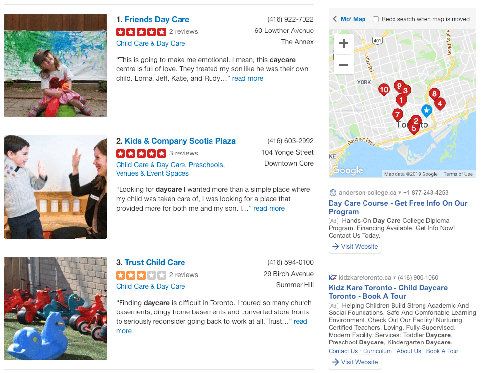 Example of home daycare listings on Yelp.