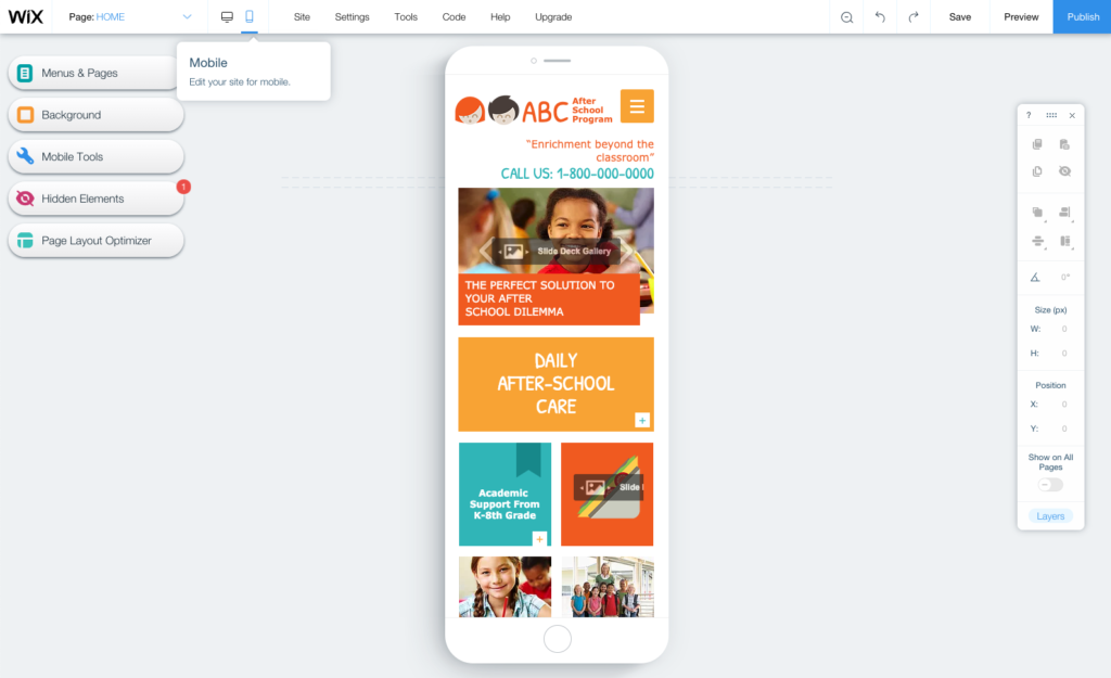 Editing the mobile version of a home daycare website.