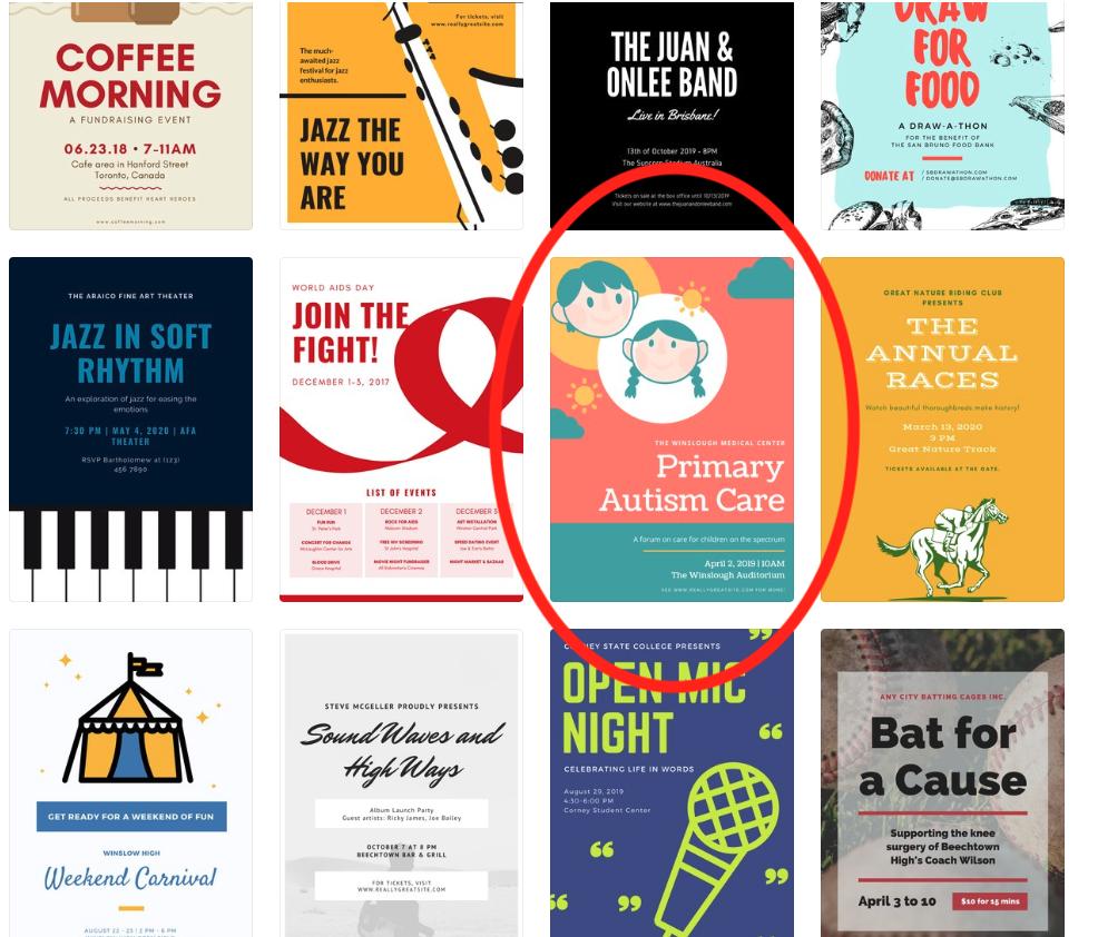choosing an event poster template