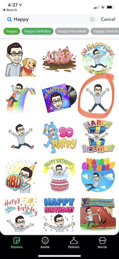 Selecting a Bitmoji to use for a flat teacher letter