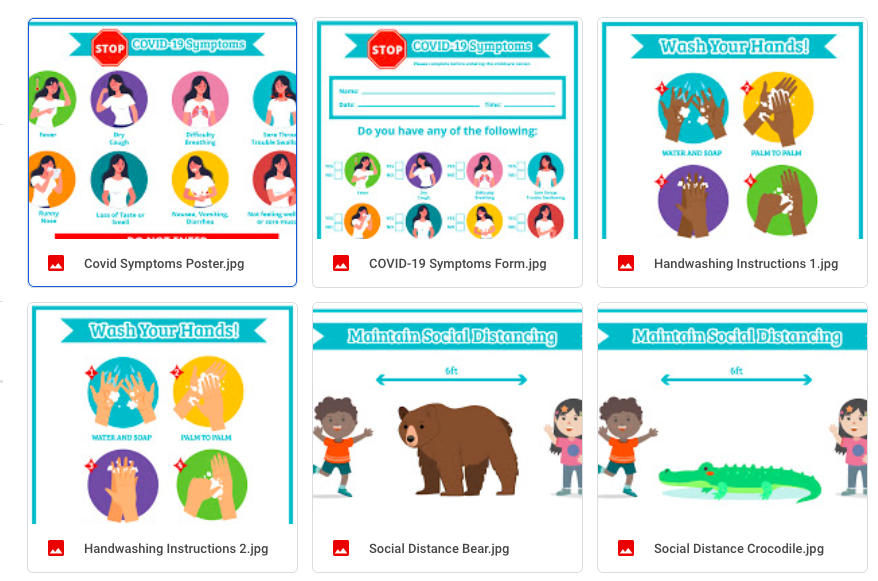 printable covid-19 child care forms and signs