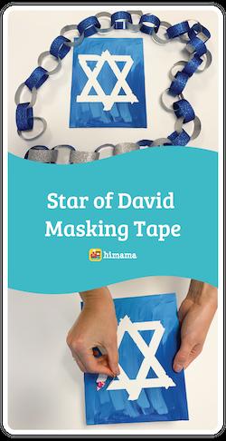 star of david masking tape hanukkah craft for kids