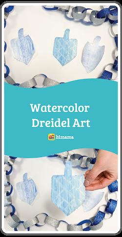 watercolor dreidel art hanukkah activity