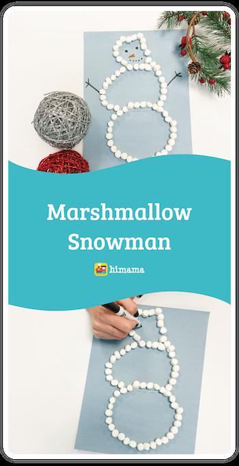 marshmallow snowman kids christmas craft