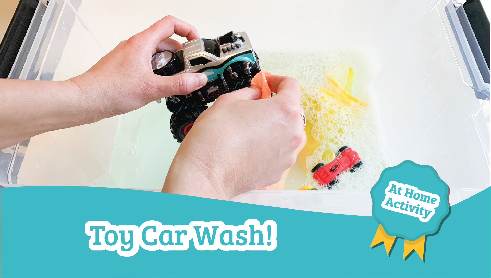 toy car wash sensory bin