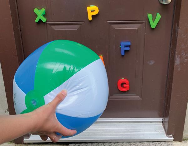 beach ball letter slam preschool toddler gross motor skills activity