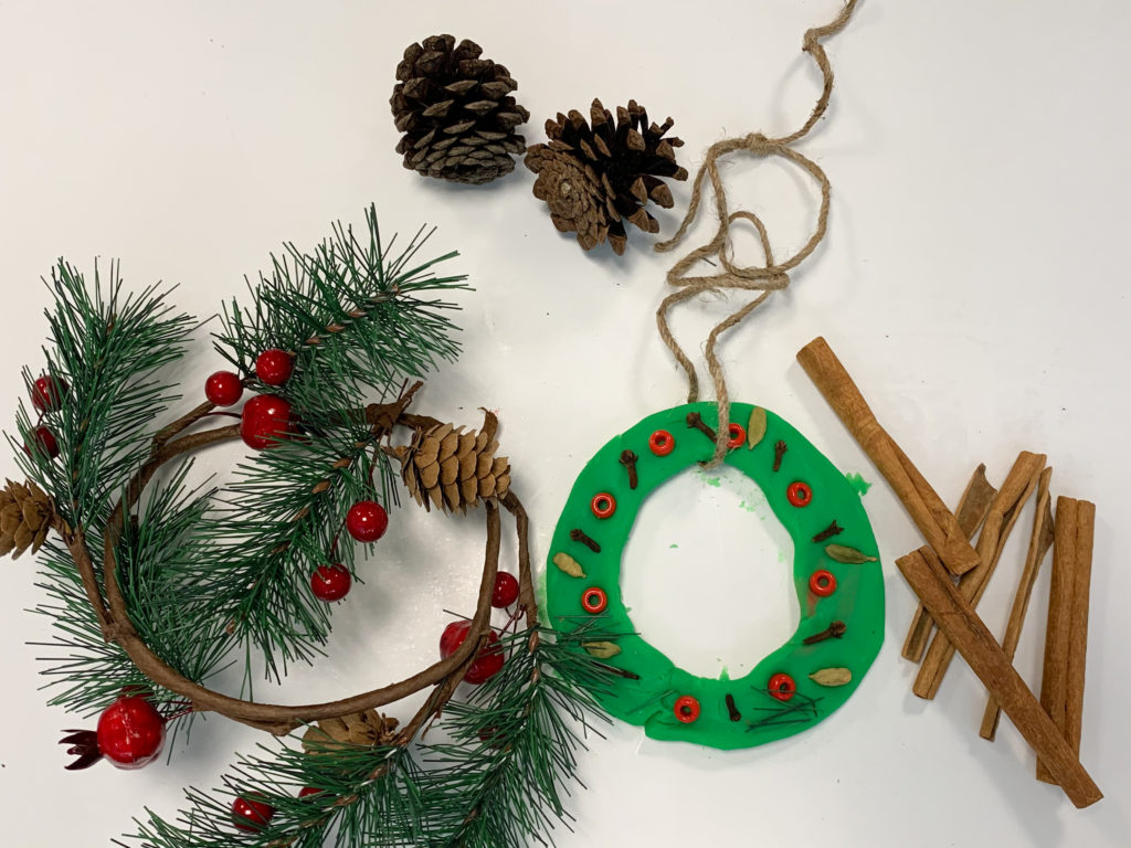 salt dough christmas wreath fine motor activity for preschoolers and toddlers