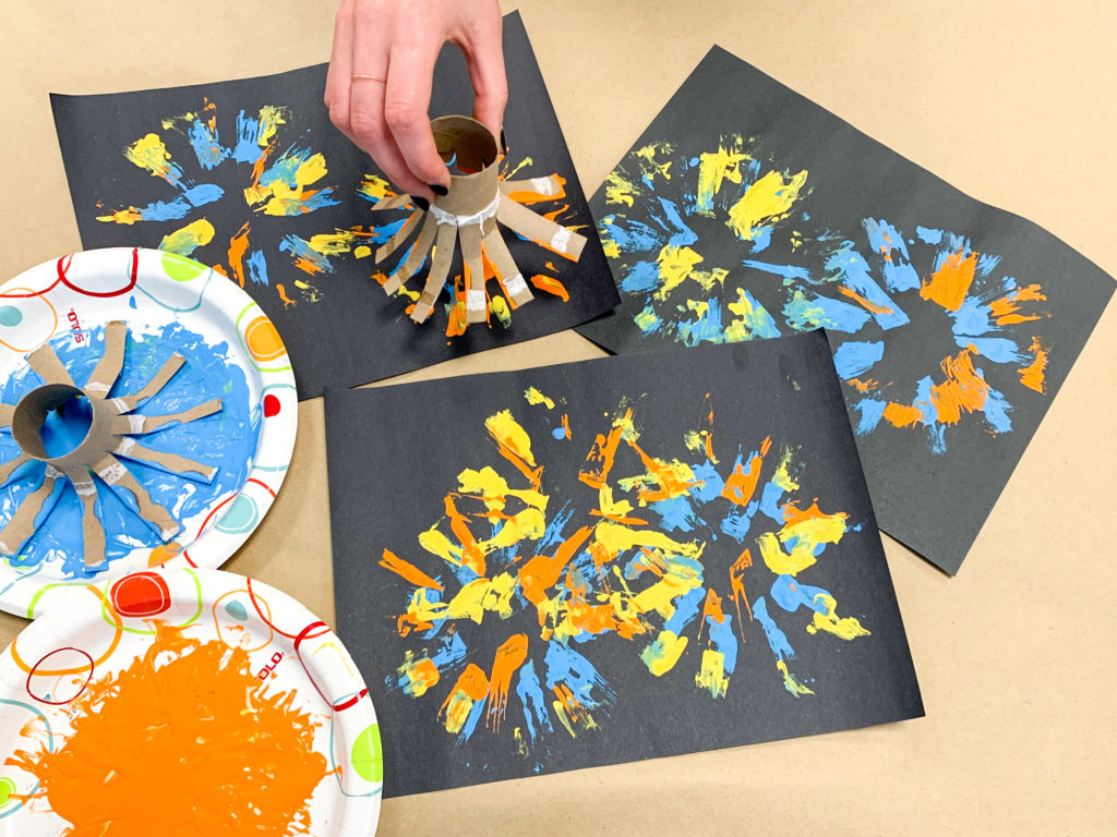 paper tube fireworks fine motor activity for preschoolers and toddlers
