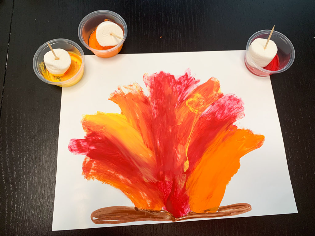 marshmallow fire painting fine motor activity for preschoolers and toddlers