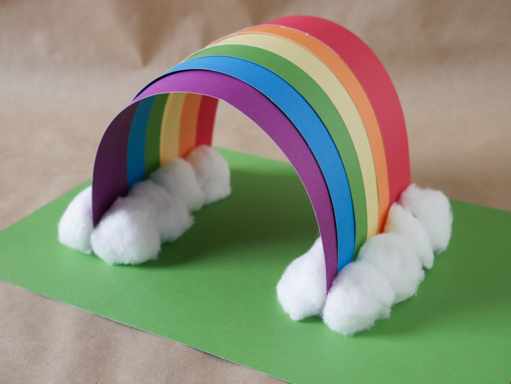construction paper rainbow fine motor preschool activity