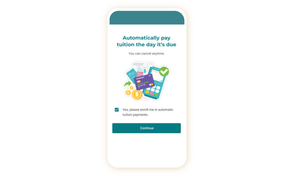 childcare automatic payments screenshot
